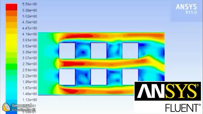 آموزش ویدیویی انسیس فلوئنت طراحی مبدل حرارتی با لوله مربعی آرایش مربعی