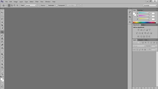نحوه تغییر رنگ بندی محیط نرم افزار فتوشاپ به رنگ خاکستری
